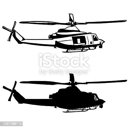 istock Work Helicopter Silhouette 1257288715