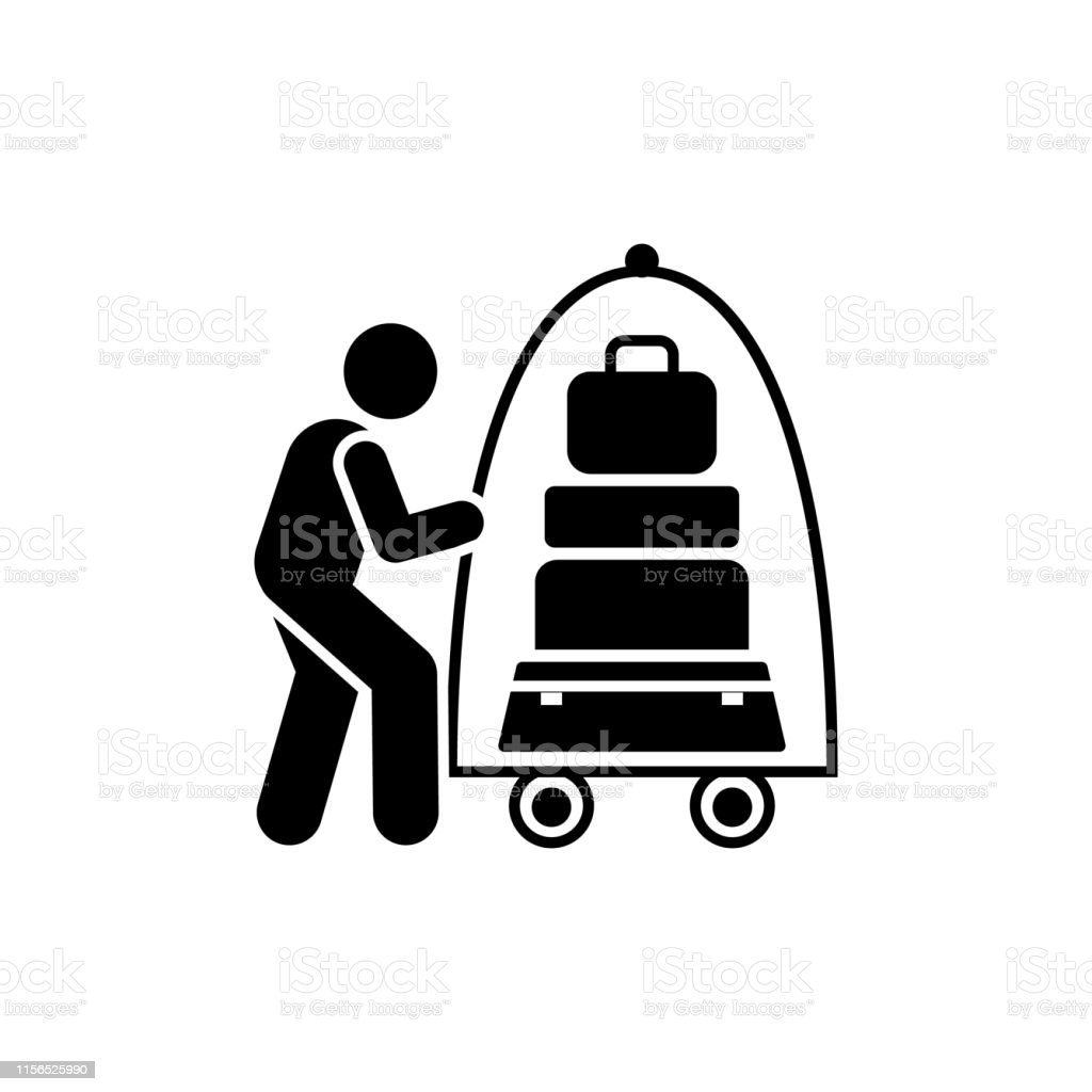 Work, hotel, maid, man, icon. Element of hotel pictogram icon....