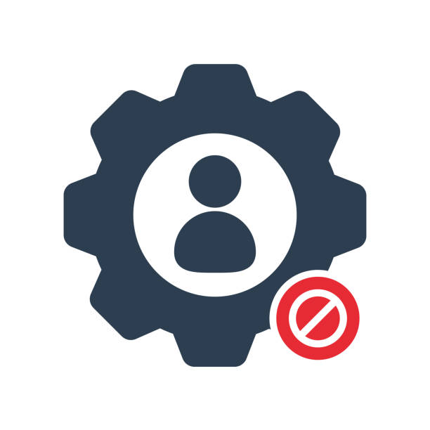 Work icon with not allowed sign. Work icon and block, forbidden, prohibit symbol vector art illustration