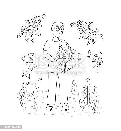 Work in the garden. A girl carries plants in pots for planting. Design element. Vector illustration.