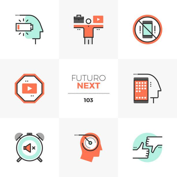 life balance futuro nächsten symbole zu arbeiten - entspannungsmethoden stock-grafiken, -clipart, -cartoons und -symbole
