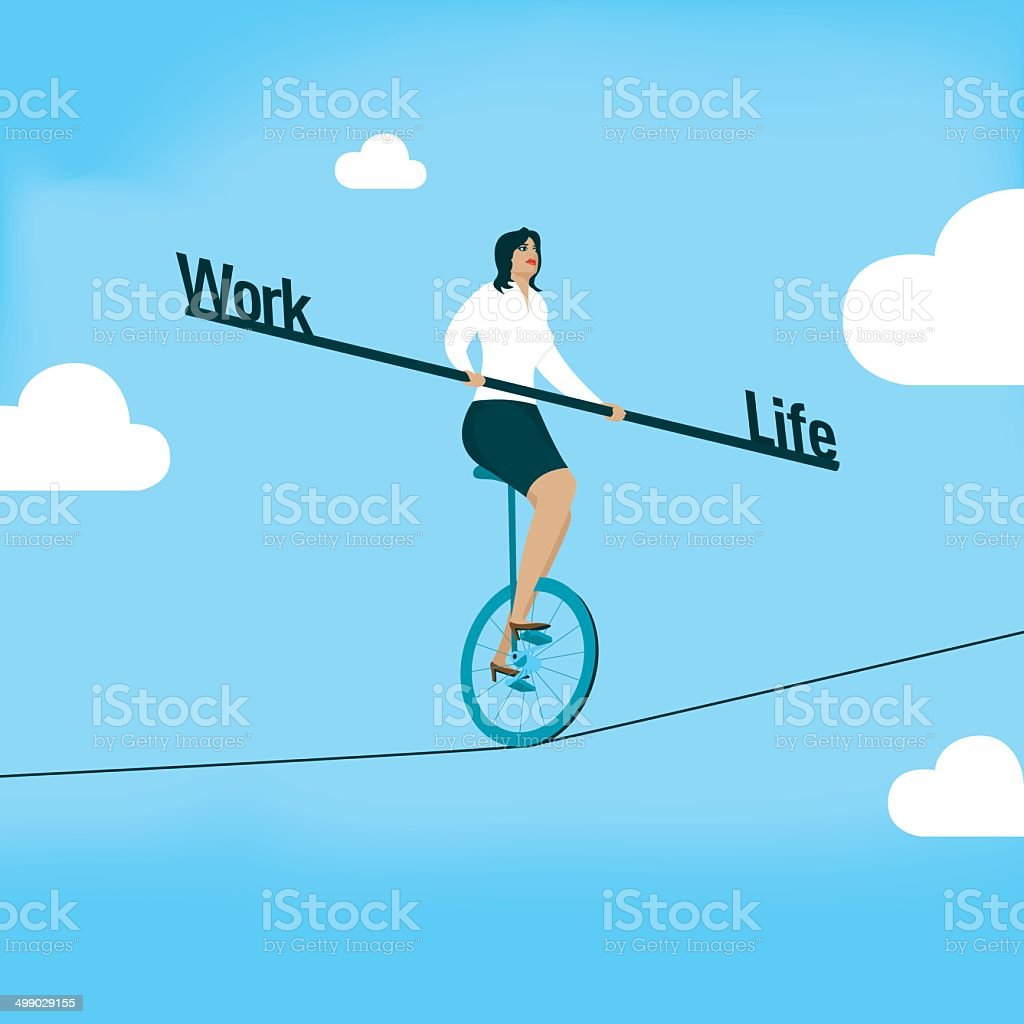 Work Life Balance vector art illustration