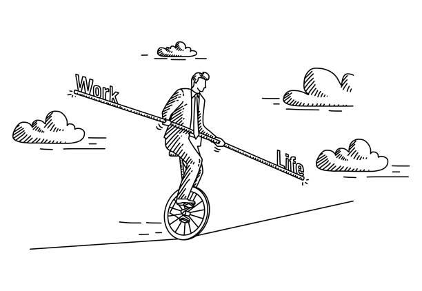 work-life-balance - strickideen stock-grafiken, -clipart, -cartoons und -symbole