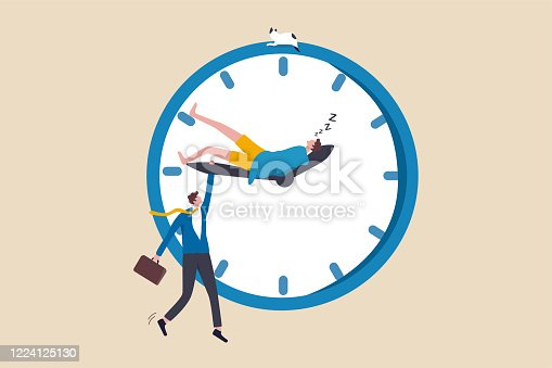 Work life balance, work overtime, people work late when work from home, personal time blend with working hours concept, tired businessman holding clock minute hand while same one sleeping on hour hand