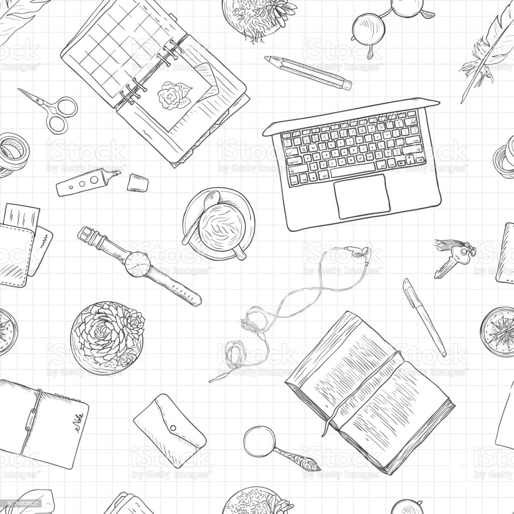 Work notes, background studying, creative lifestyle, planning. Seamless pattern. Black and white line illustration vector art illustration