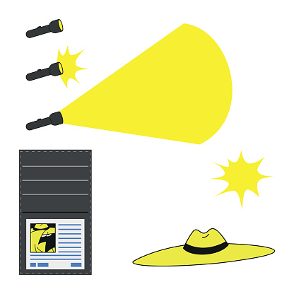 work objects of a private detective like flashlight and hat in vector