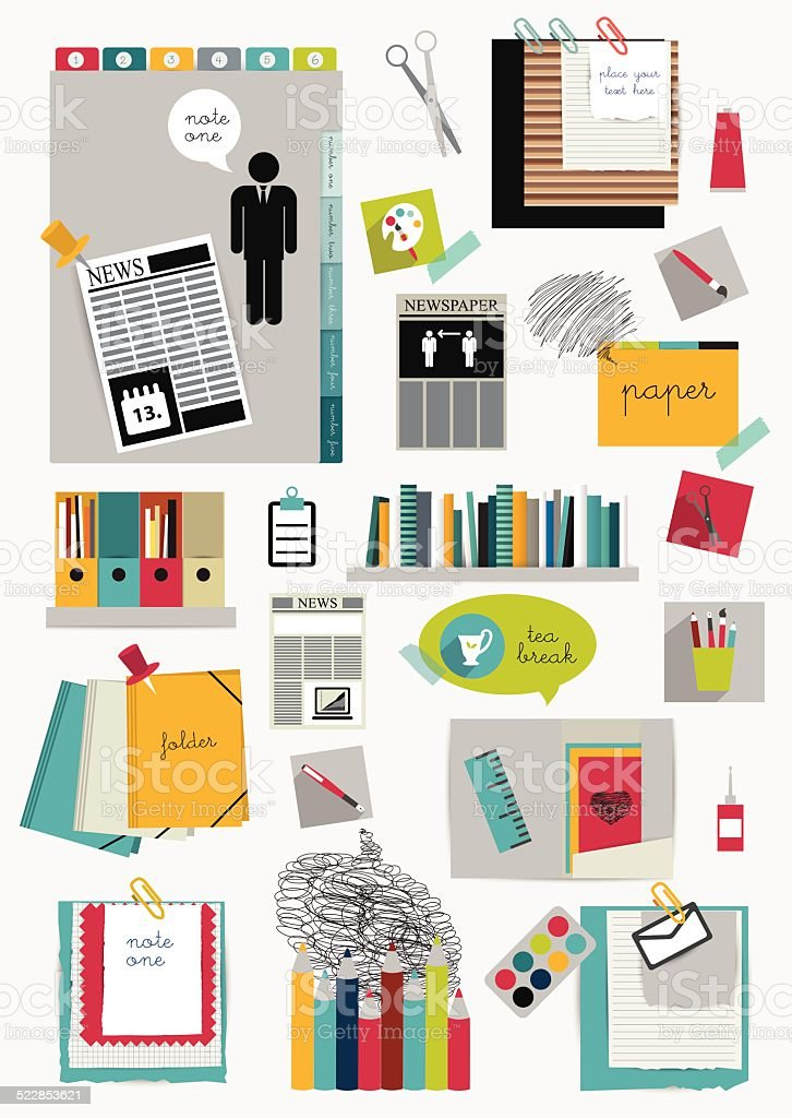 Work office web layout. vector art illustration