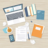 Work place, analytics, optimization, management. Top view wooden office work desk with laptop, books, documents, folder, crumpled paper, phone with messages, tea. Vector illustration background