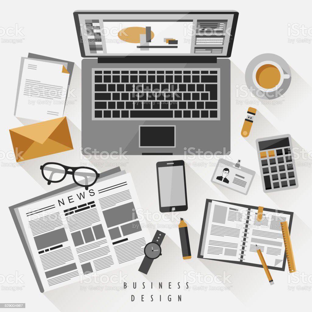 work place concept in flat design royalty-free work place concept in flat design stock vector art & more images of brown