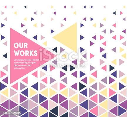 Trendy and artistic design for work portfolio. Eye catching vector illustration template to boost website, app, presentation or poster design.
