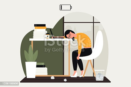Work problem vector illustration. Cartoon sad woman character working hard in crisis, upset by problematical business task, businesswoman sitting at table, frustrated in emotional overwork burnout