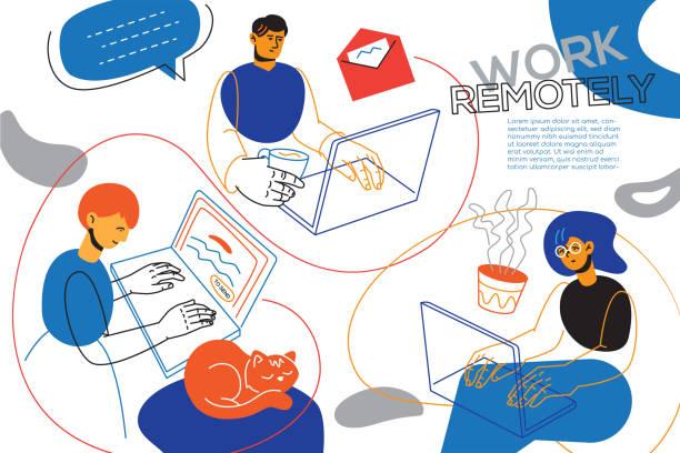 Work remotely - colorful flat design style illustration vector art illustration