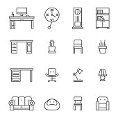 Work room furniture thin line icons