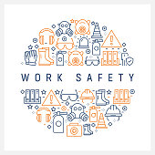 Work Safety Concept - Colorful Line Icons, Arranged in Circle