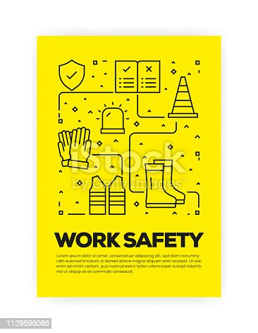 Work Safety Concept Line Style Cover Design for Annual Report, Flyer, Brochure.