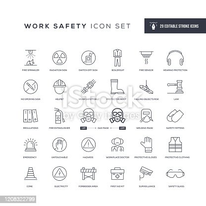 29 Work Safety Icons - Editable Stroke - Easy to edit and customize - You can easily customize the stroke width