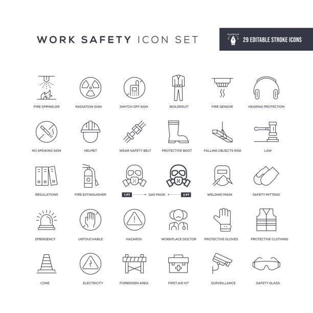 bezpieczeństwa pracy edytowalne ikony linii obrysu - kask ochronny odzież ochronna stock illustrations
