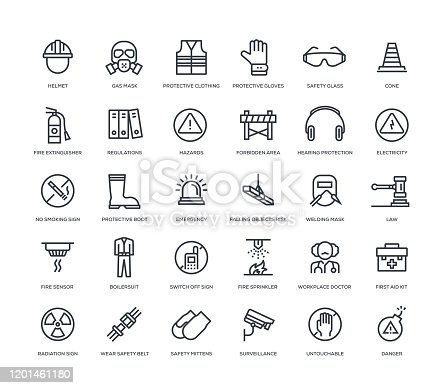 30 Work Safety Icons - Line Series
