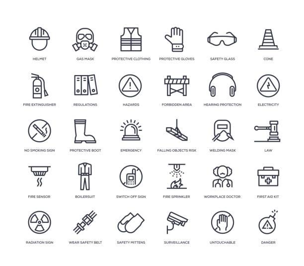 arbeitssicherheits-symbol-set - schutzbrille stock-grafiken, -clipart, -cartoons und -symbole
