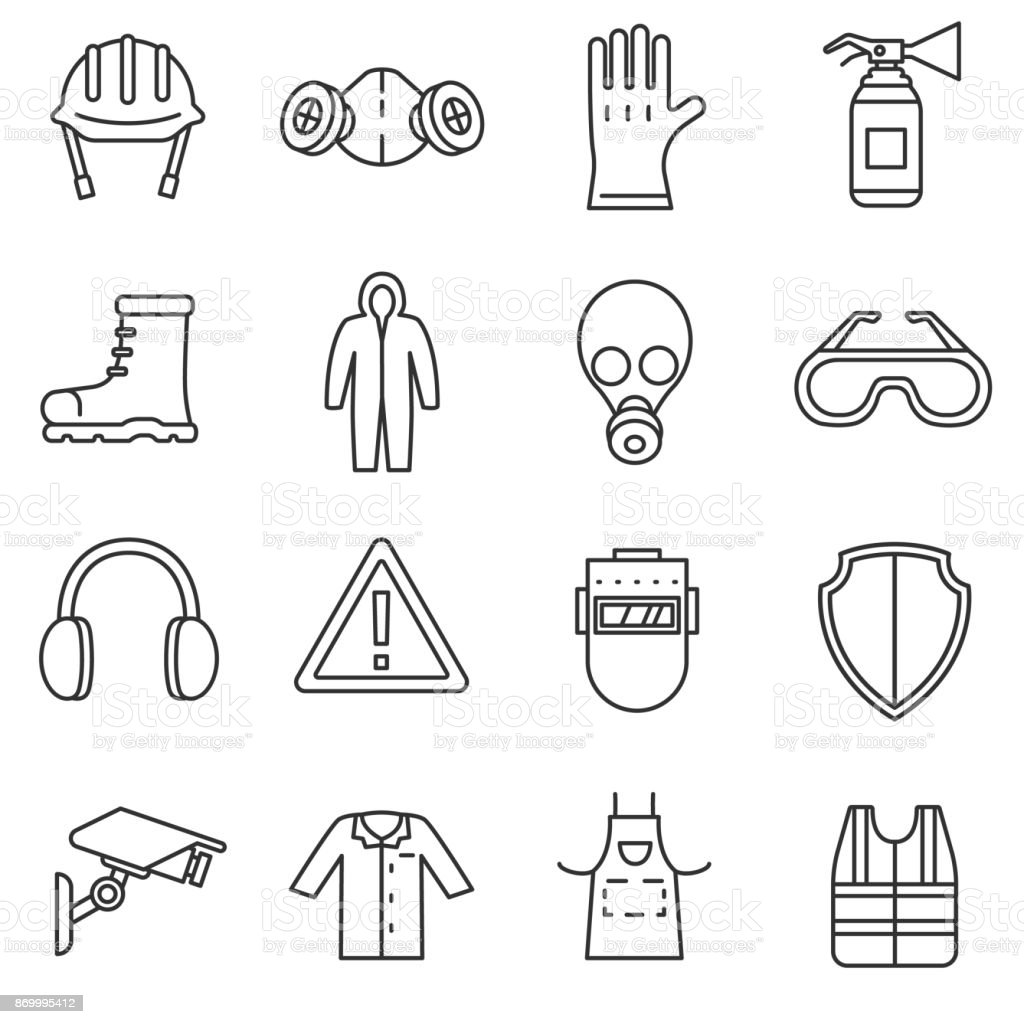 work safety icons set. royalty-free work safety icons set stock illustration - download image now