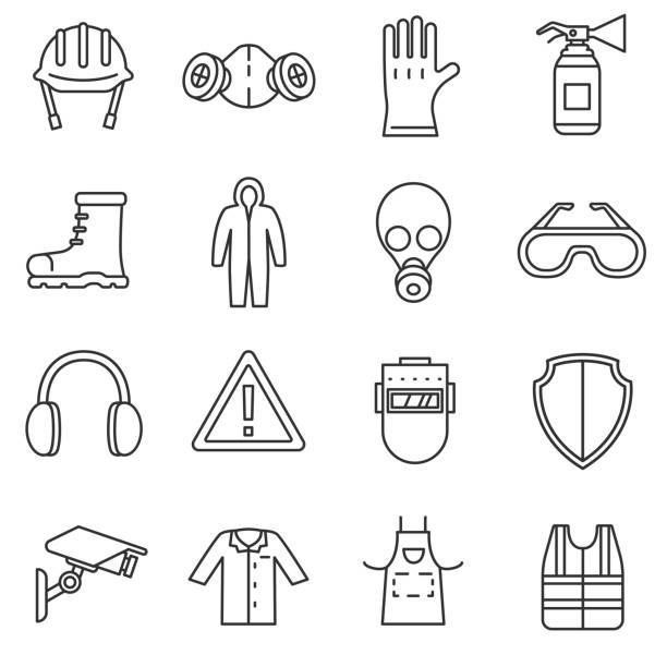work safety icons set. work safety icons set. means and methods of protection in the workplace, thin line design. safety, linear symbols collection. isolated vector illustration. protective workwear stock illustrations