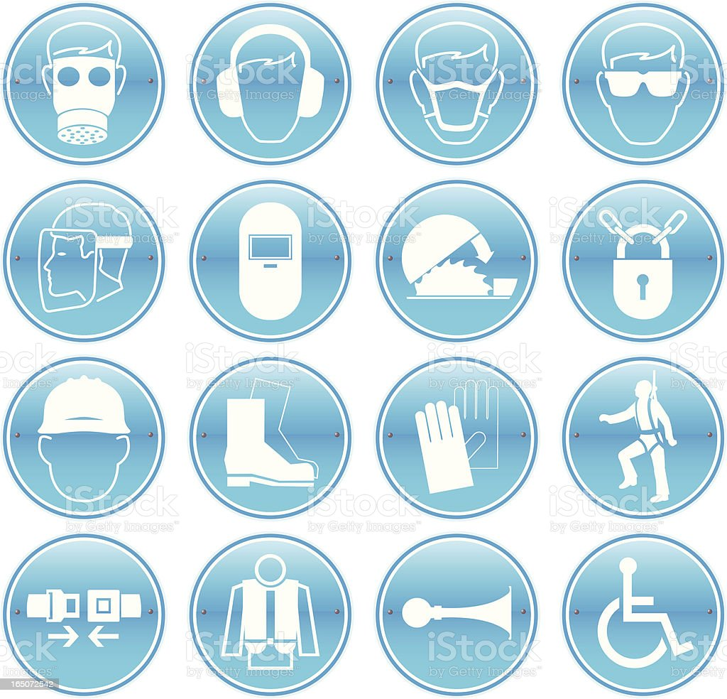 Work Safety Icons vector art illustration