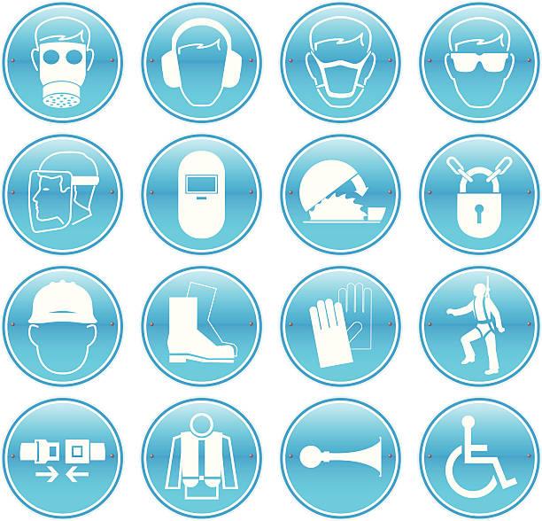 ilustraciones, imágenes clip art, dibujos animados e iconos de stock de trabajo iconos de seguridad - equipo de seguridad
