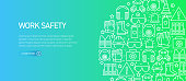 Work Safety Related Banner Template with Line Icons. Modern vector illustration for Advertisement, Header, Website.