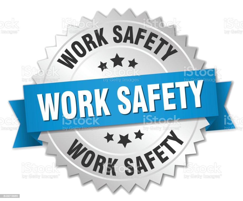 Sicherheit am Arbeitsplatz Runde isolierte silberne Ehrennadel – Vektorgrafik