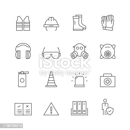 Work Safety - Set of Thin Line Vector Icons