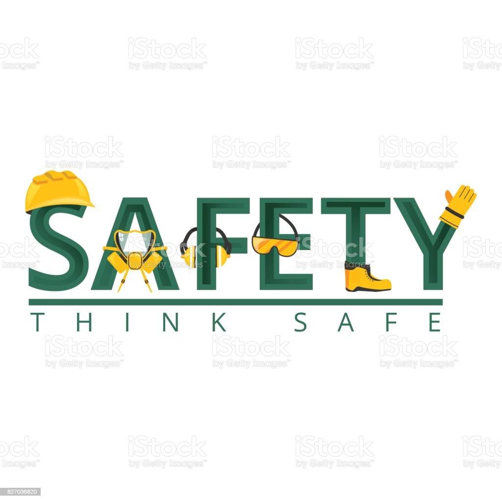 Arbeit das Wort Sicherheitskonzept. Sicherheitsausrüstung. Vektor-illustration – Vektorgrafik