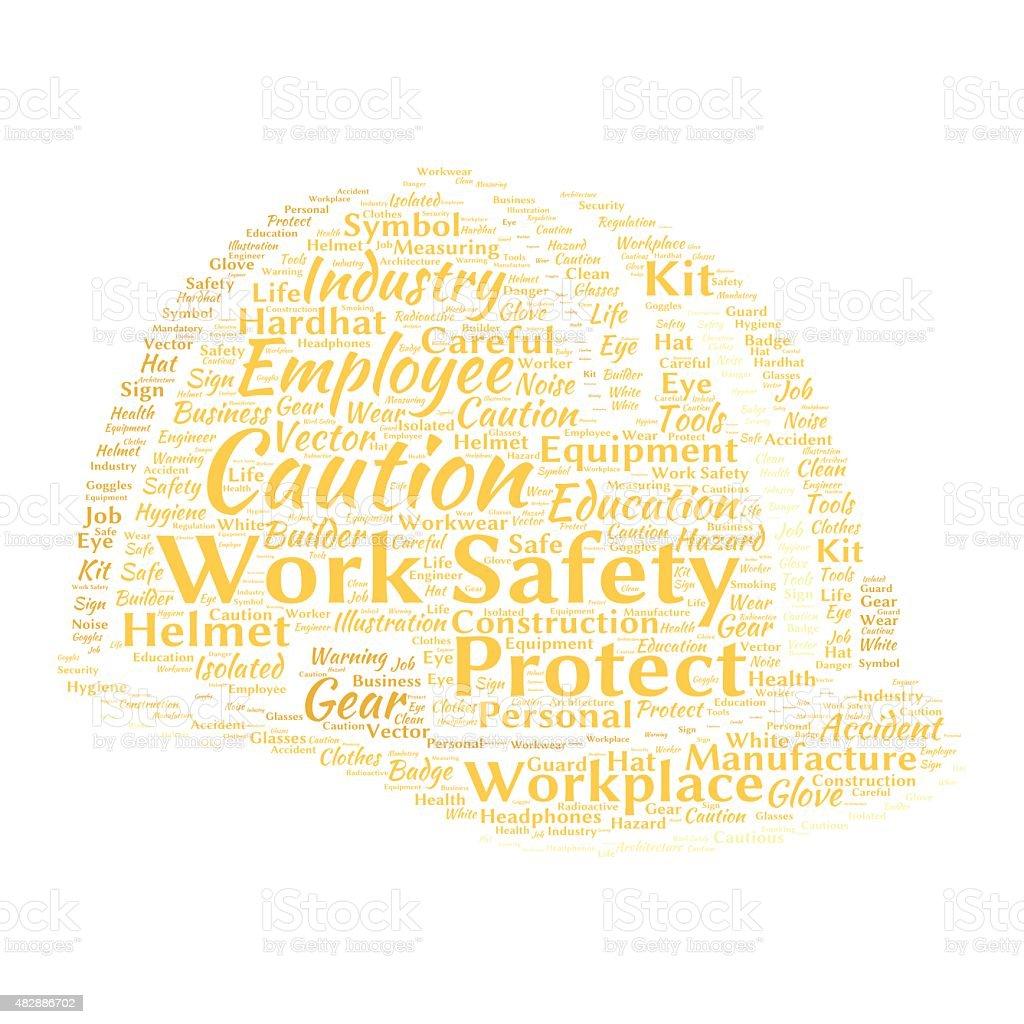Arbeit Sicherheit wordcloud – Vektorgrafik