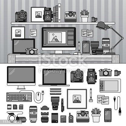 istock Work space for photographer. Line monochrome vector illustration. 1174214849