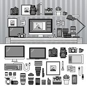 istock Work space for photographer. Line monochrome vector illustration. 1174214849
