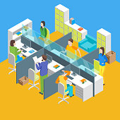 Work Space Office Interior with Furniture Isometric View Workspace Freelance or Corporate Center. Vector illustration of Workplace and People