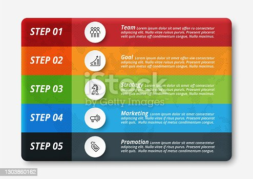 istock 5 work steps of any business, company, organization, marketing, planning and presentation through infographic design. 1303860162