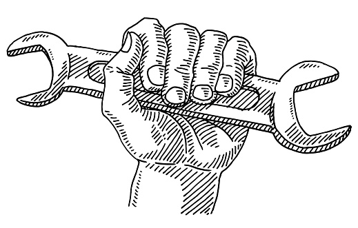 Work Symbol Hand Wrench Drawing