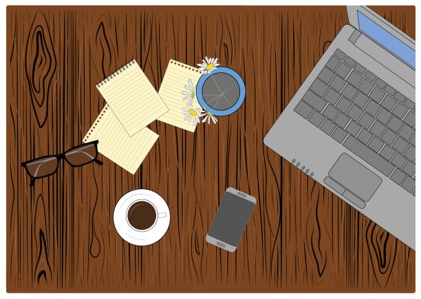 work table view on. on the computer desk, glasses, a cup of coffee and a vase of flowers, a yellow notebook. working environment. vector illustration - post it notes stock illustrations