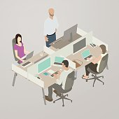 Four coworkers sit in adjacent workspaces in this isometric illustration, using their laptops and desktop computers. One bald and with a beard uses an ergonomic standup desk, while a woman in a purple shirt has her laptop placed on her lap. Colors are warm and flat, and the scene is placed on a warm gray background.