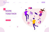 People team work together. Can use for web banner, infographics, hero images. Flat isometric vector illustration isolated on white background.