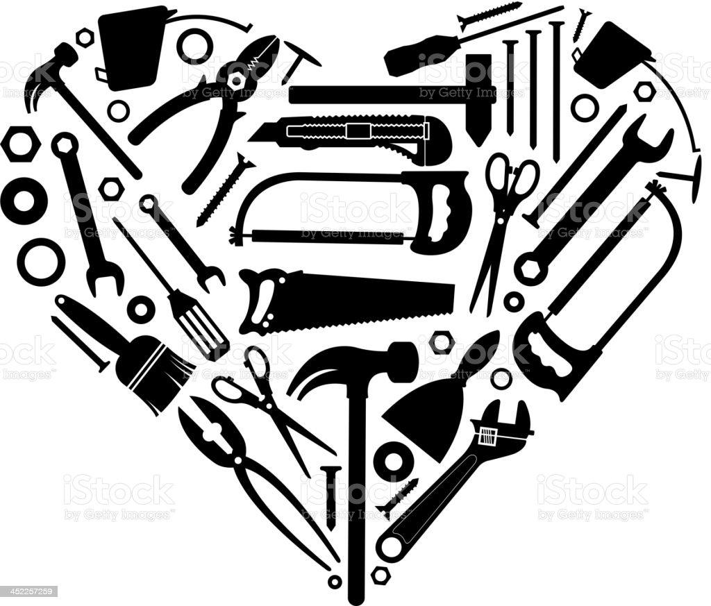 work tool hearth shape vector art illustration