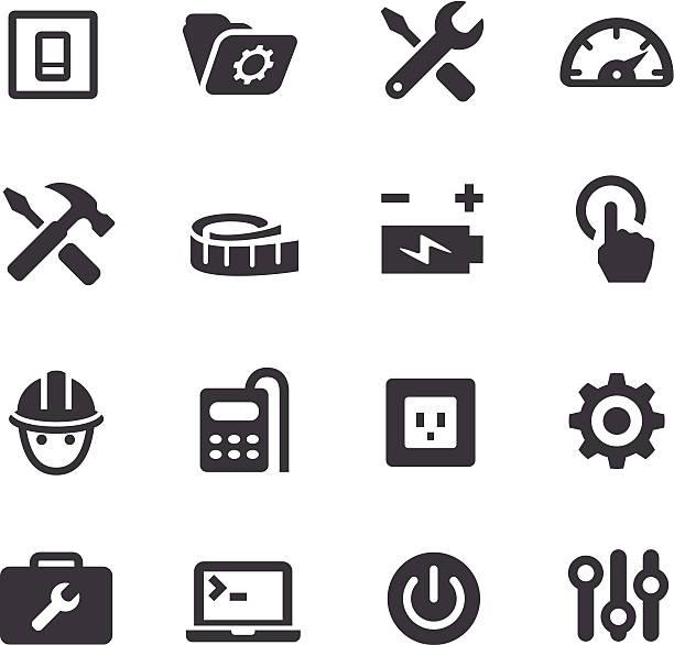 ilustraciones, imágenes clip art, dibujos animados e iconos de stock de herramienta de trabajo iconos-serie acme - reparador