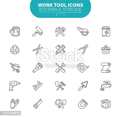 Hardware, Construction, Industry, Real Estate, Working, Home Repair, Outline Icon Set
