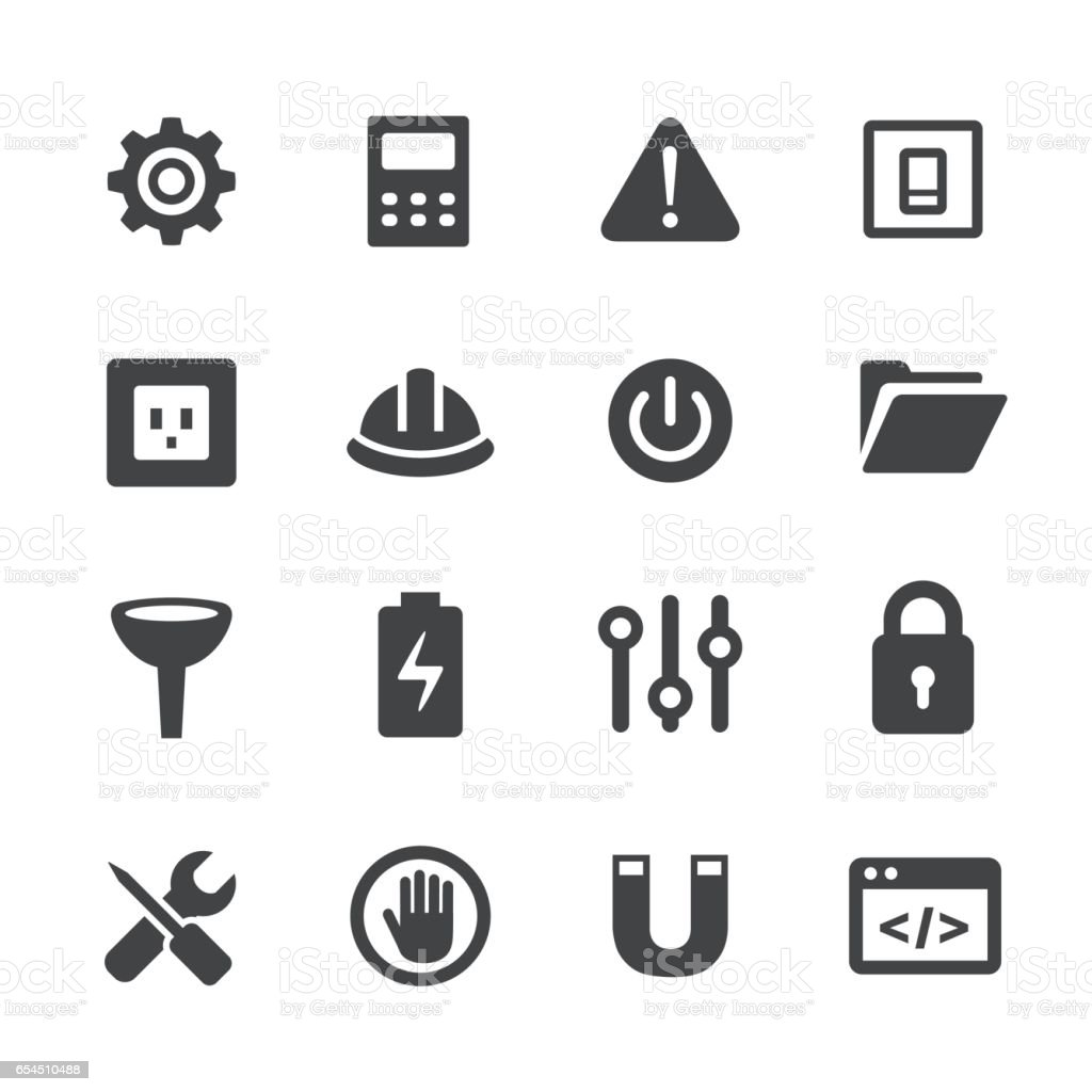 Work Tool Icons Set - Acme Series vector art illustration