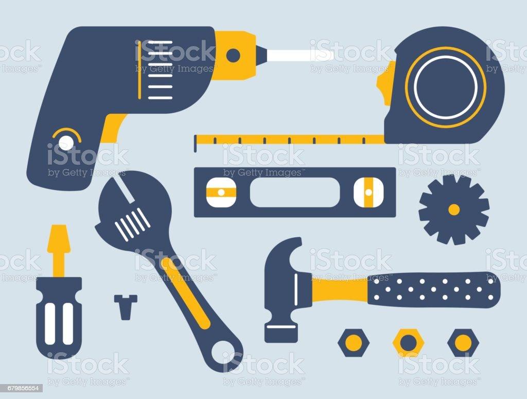 Work Tools and Equipment vector art illustration