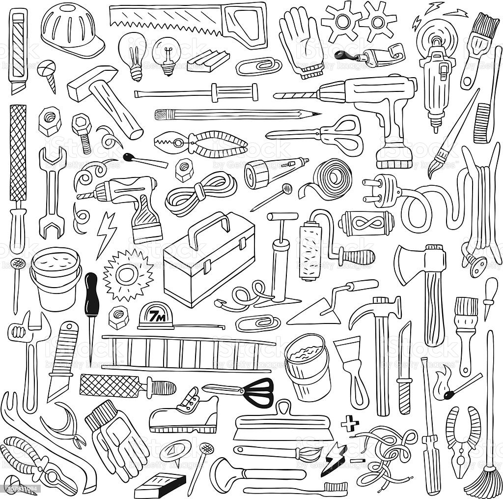 work tools - doodles collection royalty-free stock vector art