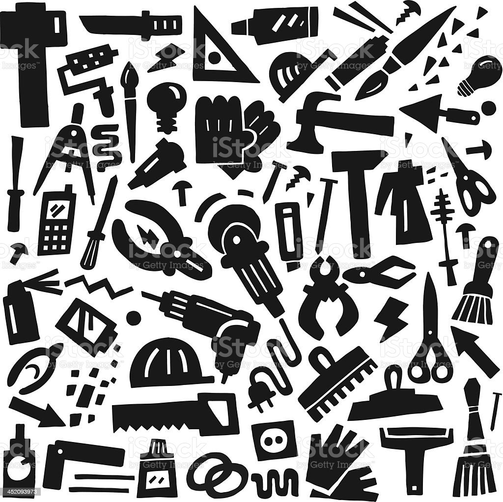 work tools - doodles royalty-free work tools doodles stock vector art & more images of backgrounds