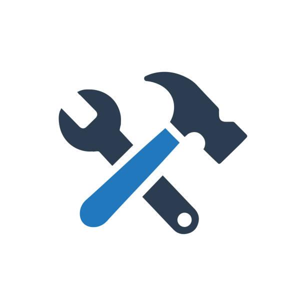 stockillustraties, clipart, cartoons en iconen met pictogram van de hulpprogramma's werk - hamer