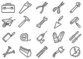There is a set of icons about work tools in the style of Clip art.