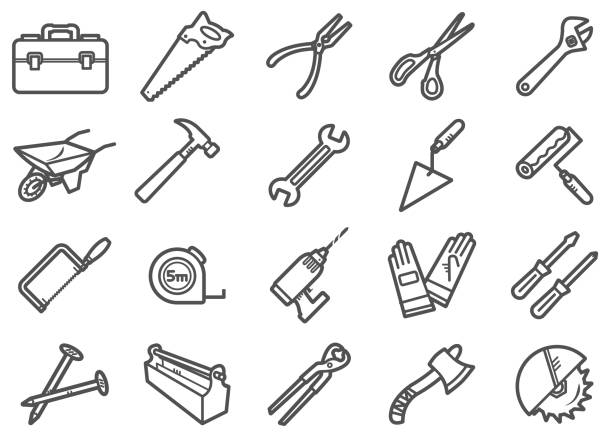 Work Tools Line Icon Set There is a set of icons about work tools in the style of Clip art. nail work tool stock illustrations
